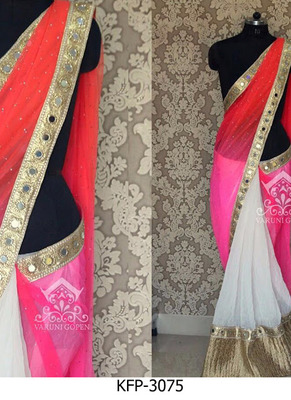 White And Pink Embroidered Georgette Saree With Blouse