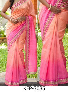 Pink And Peach Embroidered Nylon Silk Georgette Saree With Blouse