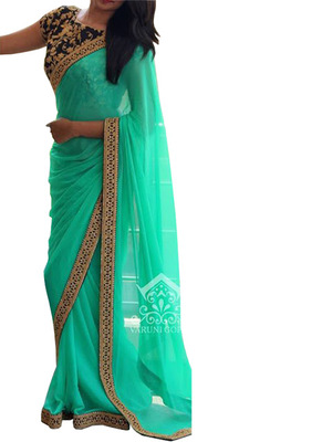 Cyan Green Embroidered Georgette Saree With Blouse