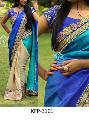 Sky And Cream Embroidered Nylon Silk Saree With Blouse