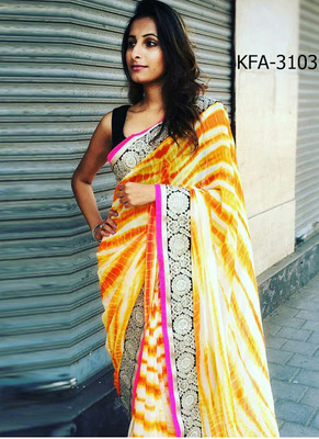 White And Orange Embroidered Georgette Saree With Blouse