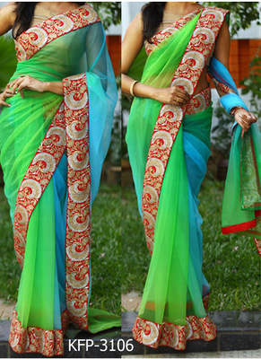 Parrot Green And Sky Embroidered Nylon Net Saree With Blouse