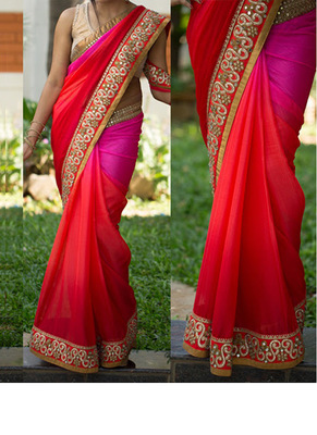 Red And Pink Embroidered Georgette Saree With Blouse