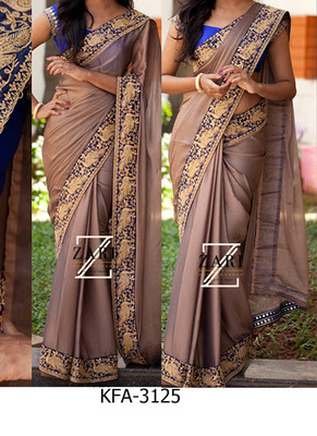 Brown Gray Embroidered Georgette Saree With Blouse