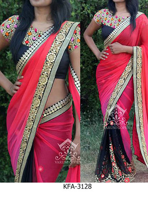 Black And Pink Embroidered Georgette Saree With Blouse