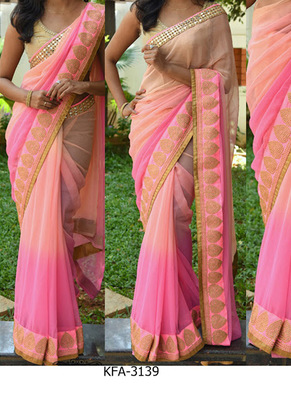 Peach And Pink Embroidered Georgette Saree With Blouse
