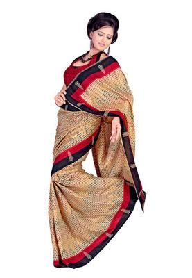 Fabdeal Beige Colored Tussar Silk Printed Saree