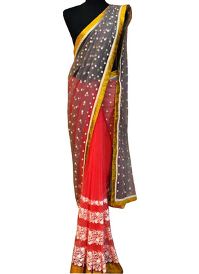 Pink And Gray Embroidered Nylon Foil Net Saree With Blouse