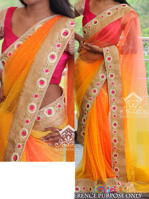 Orange And Pink Embroidered Nylon Net Saree With Blouse