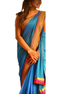 Blue Embroidered Paper Silk Saree With Blouse
