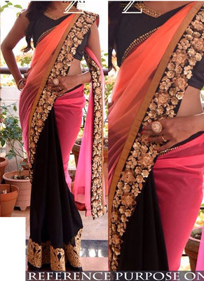 Multi Color Embroidered Georgette Saree With Blouse