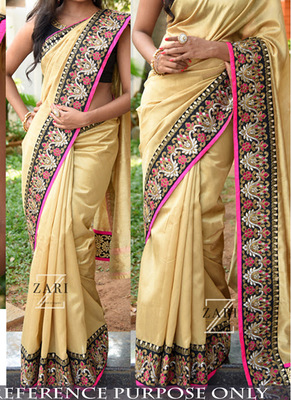 Golden Embroidered Nylon Silk Saree With Blouse
