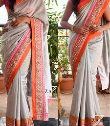 Buy Gray Embroidered Georgette Saree With Blouse designer-embroidered-saree online