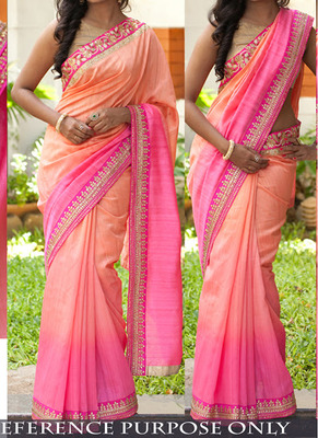Light Pink And Light Orange Embroidered Georgette Saree With Blouse