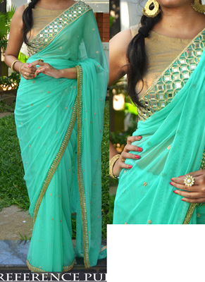 Cyan Embroidered Georgette Saree With Blouse