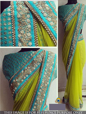 Yellow And Blue Embroidered Nylon Mono Net Saree With Blouse