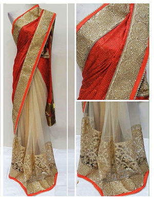 Cream And Red Embroidered Nylon Mono Net Saree With Blouse