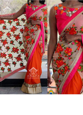 Orange And Cream Embroidered Georgette Saree With Blouse