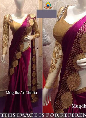 Magenta And Gold Embroidered Paper Silk Saree With Blouse