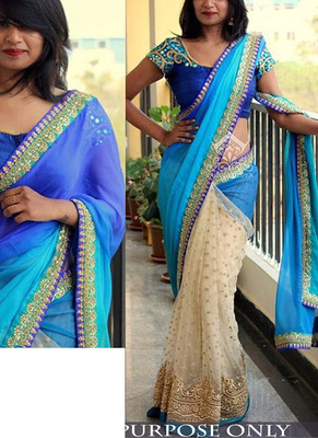 Sky And Cream Embroidered Georgette Saree With Blouse