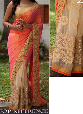 Peach And Cream Embroidered Georgette Saree With Blouse
