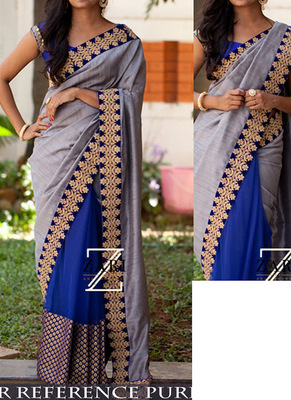 Gray And Blue Embroidered Nylon Silk Georgette Saree With Blouse