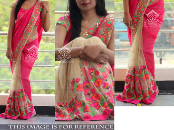 Pink And Cream Embroidered Nylon Mono Net Saree With Blouse