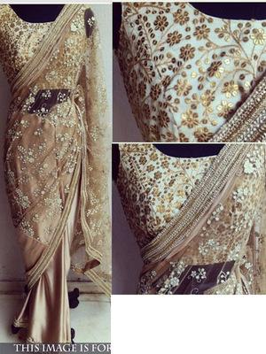 Beige Embroidered Nylon Mono Net Saree With Blouse