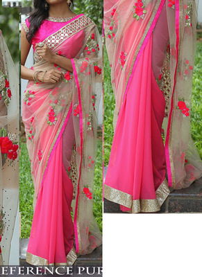 Pink And Off White Embroidered Georgette Saree With Blouse