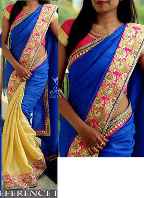 Blue Embroidered Nylon Silk Georgette Saree With Blouse