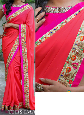 Tomato Embroidered Georgette Saree With Blouse