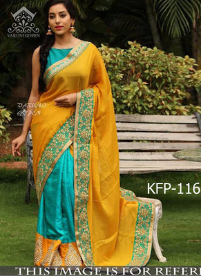 Yellow And Sky Embroidered Paper Silk Saree With Blouse