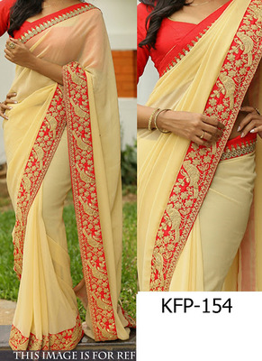 Light Cream Embroidered Georgette Saree With Blouse