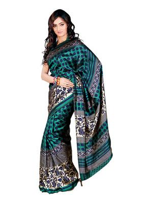 Fabdeal Sea Green Colored Tussar Silk Printed Saree