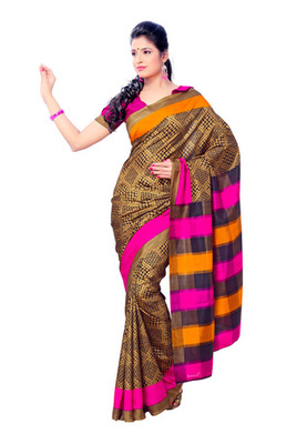 Fabdeal Golden Colored Crepe Printed Saree