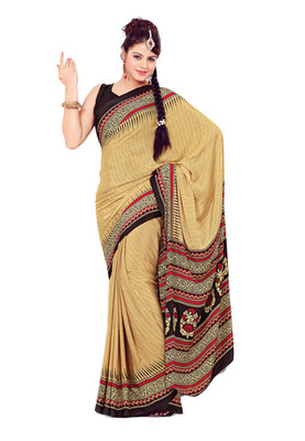 Fabdeal Beige Colored Kasturi Crepe Printed Saree