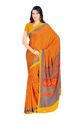 Fabdeal Orange Colored Kasturi Crepe Printed Saree