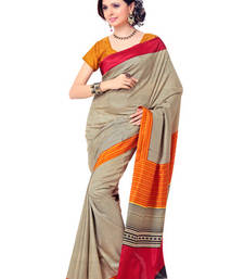 Buy Fabdeal Cream Colored Crepe Printed Saree  printed-saree online