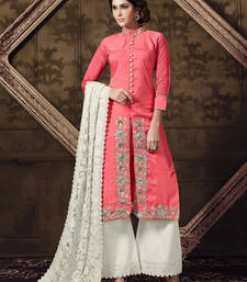 Buy Pink georgette embroidered semi stitched salwar with dupatta sharara online