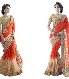 Buy orange embroidered georgette saree With Blouse georgette-saree online