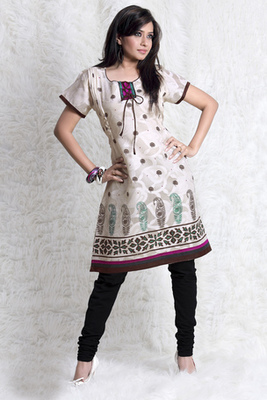 Hypnotex Cream cotton Printed Kurti Summer 107A