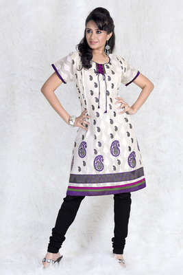 Hypnotex Cream cotton Printed Kurti Summer 105B