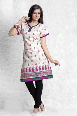 Hypnotex Cream cotton Printed Kurti Summer 104A