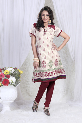 Hypnotex Cream cotton Printed Kurti Summer 101A