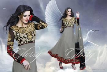Designer Glossy Umbrella Anarkali Dress with Grey and Black Combination