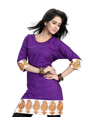 Hypnotex Purple cotton Designer Kurti Gippi 252B