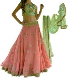 Buy pink embroidred Georgette lehenga women whith blouse lehenga-below-2000 online