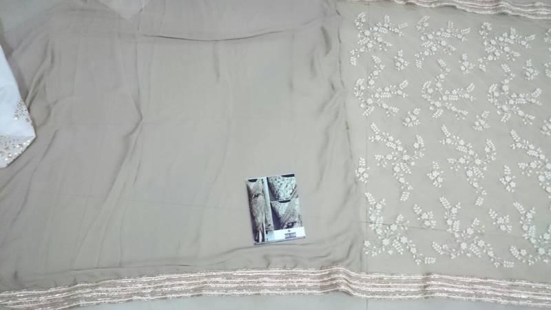10d9000ece Beige Embroidered Nylon Mono Net Saree With Blouse - Isha Enterprise ...
