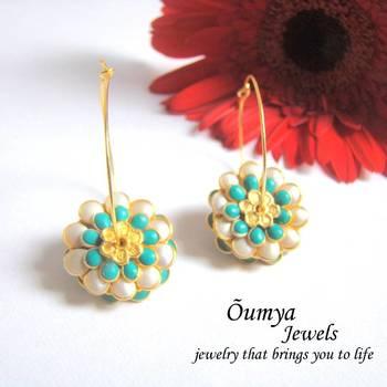 White blue Round paachi earrings