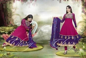 Designer Glossy Umbrella Anarkali Dress Light Pink Combination